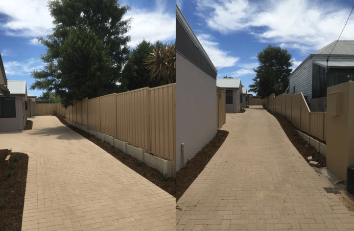 Cream Colourbond Fence with Retaining Perth