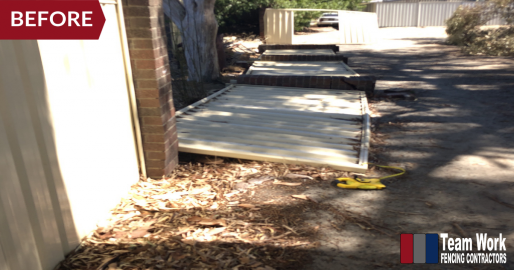 Storm Damaged Colorbond Fence in Gosnells, Perth, WA