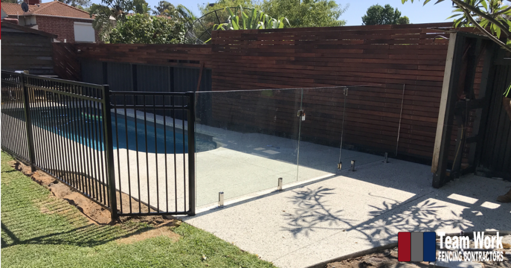 Frameless Glass Pool Fence combined with Galvanised Steel Pool Fencing Perth WA