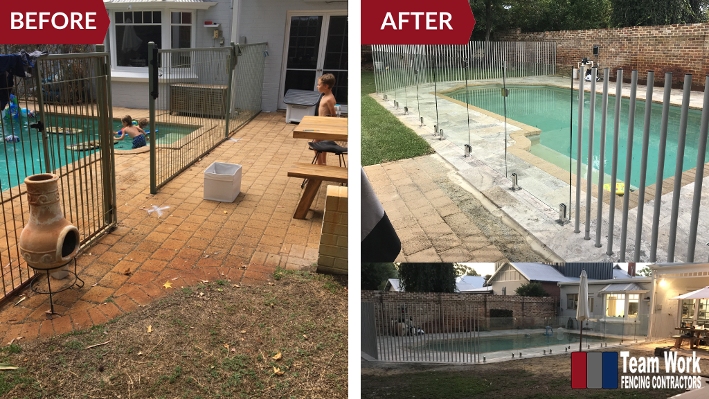 Before After Photo: Feature Glass Pool Fencing Perth WA