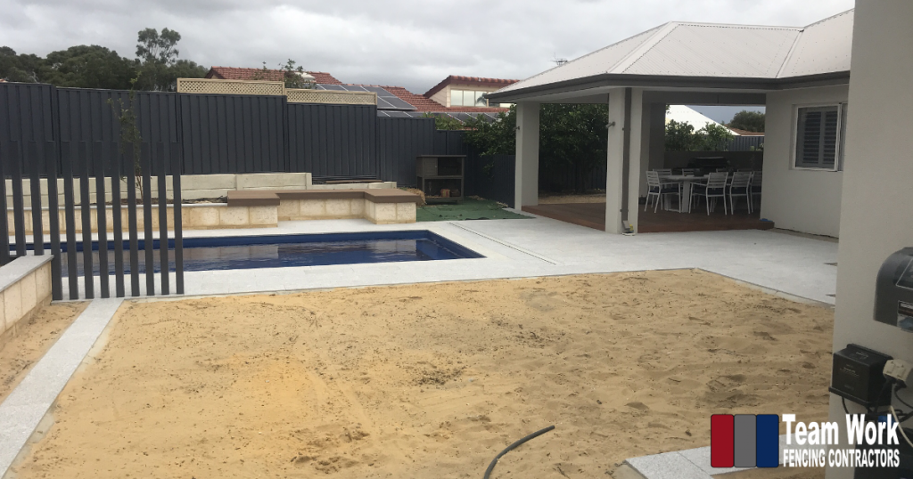 Installation of Feature Pool Fencing with Glass Pool Fence and Tubular Posts