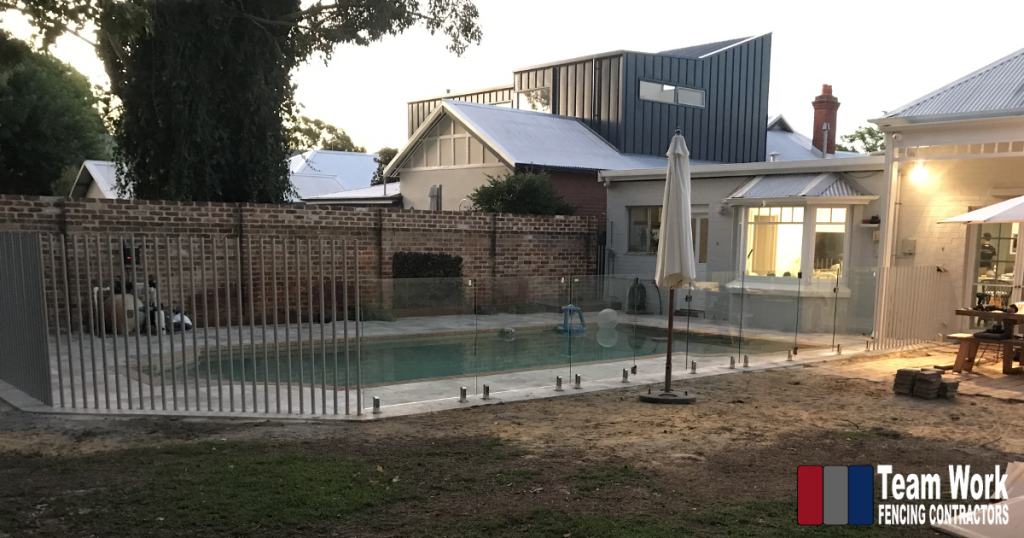 Feature Pool Fence Installation of Glass Pool Fencing with Custom Tubular Posts in Perth, WA