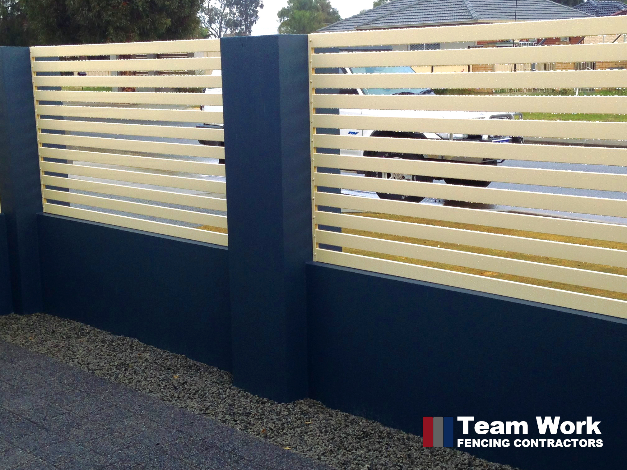 Cream Off-White Colour EZI Slat Fence in Blue concrete fence panel contrast installed in Perth