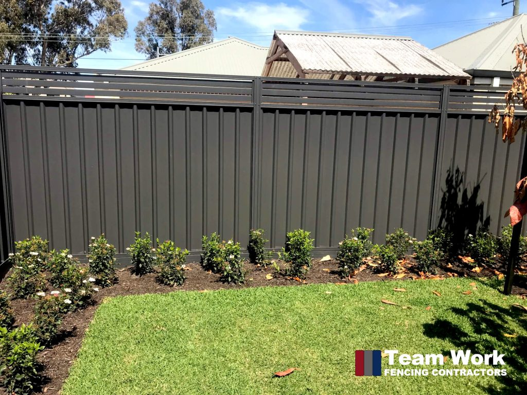 Colorbond Gray with Slat Fence Panel Enhancement