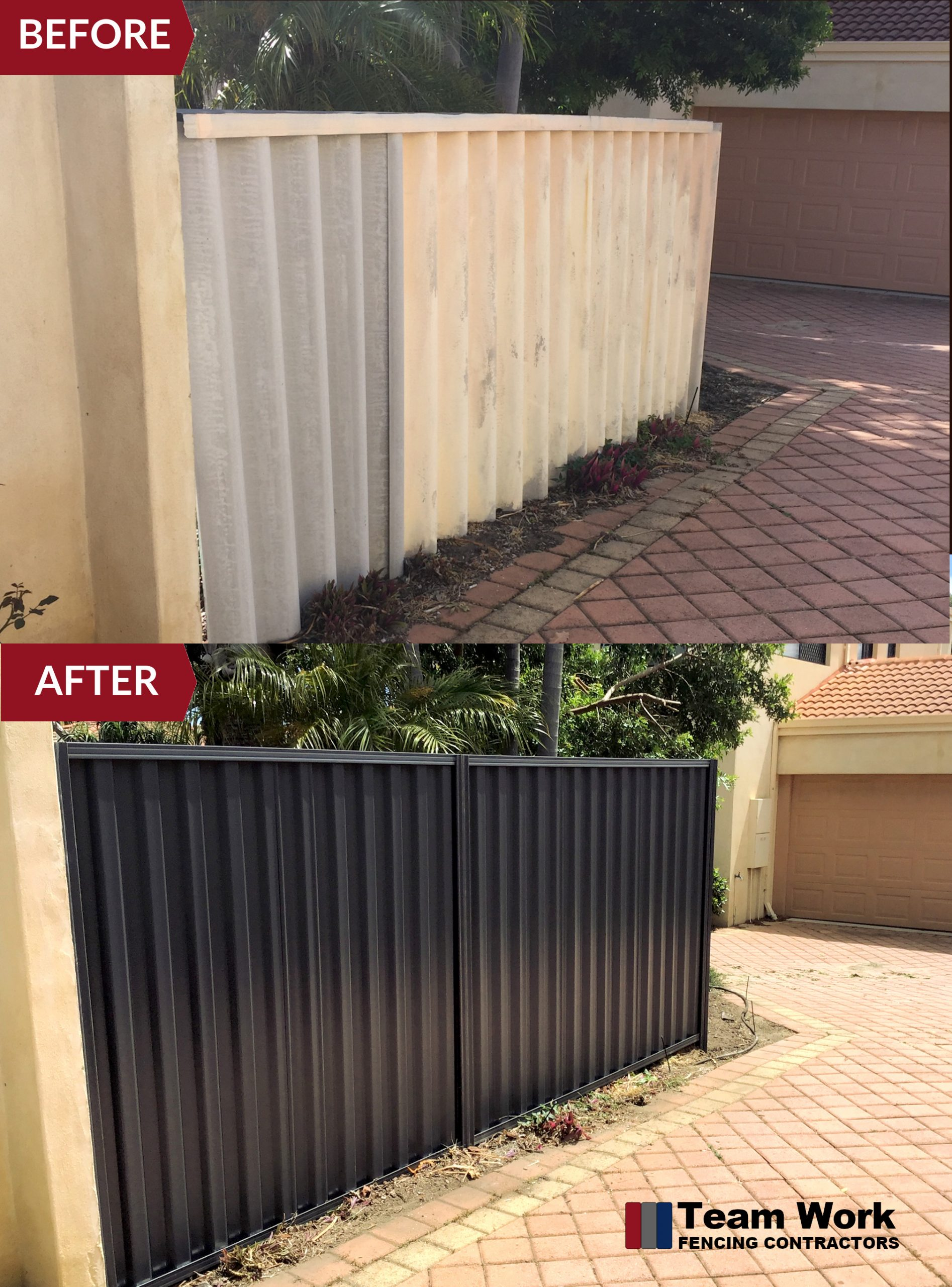 Removal of Hardi Sheets and Installation of Black Fence in Bicton WA - Before AFter