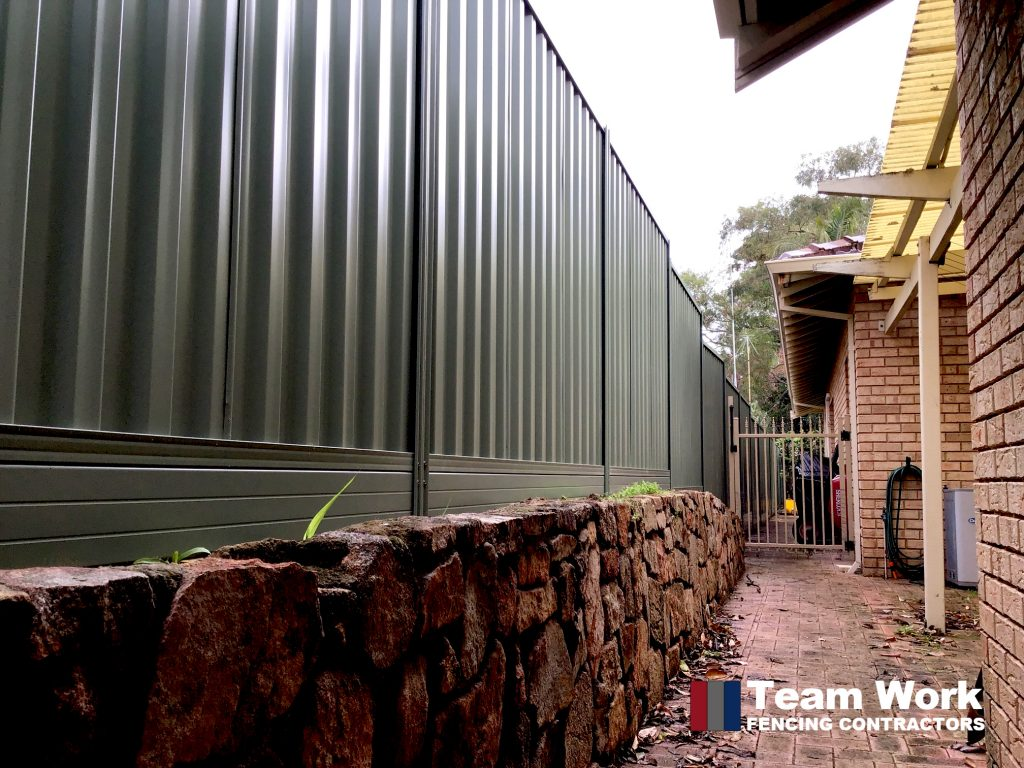 Basalt Colorbond Fence with Allywall Retaining Installed in Nedlands WA