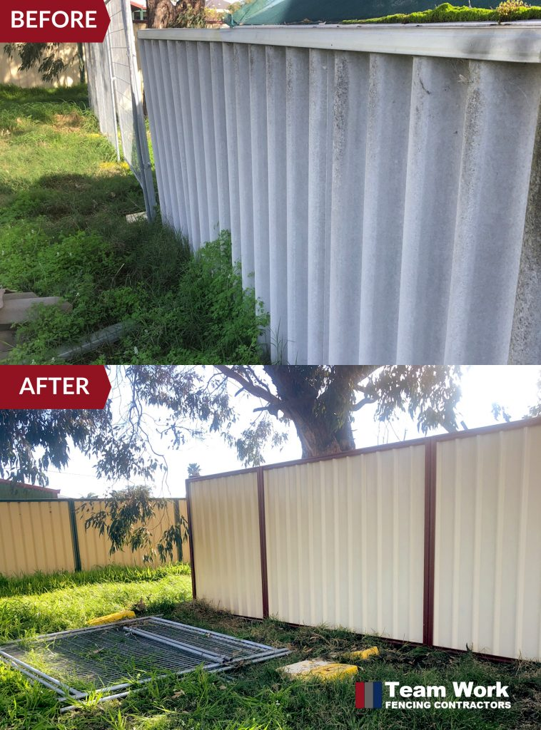 Before After Photo: Two Tone Colorbond Fence Installation to Replace Storm Damaged Fence in South Bunbury WA