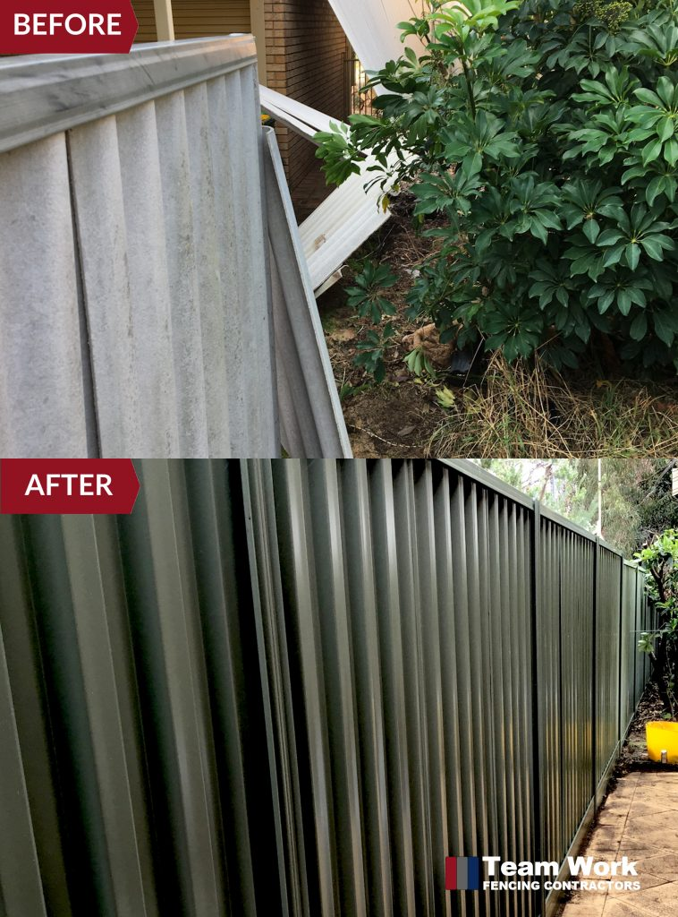 Storm Damaged Fence Before and After - Colorbond Installation to Replace Damaged Hardifence in Nedlands WA