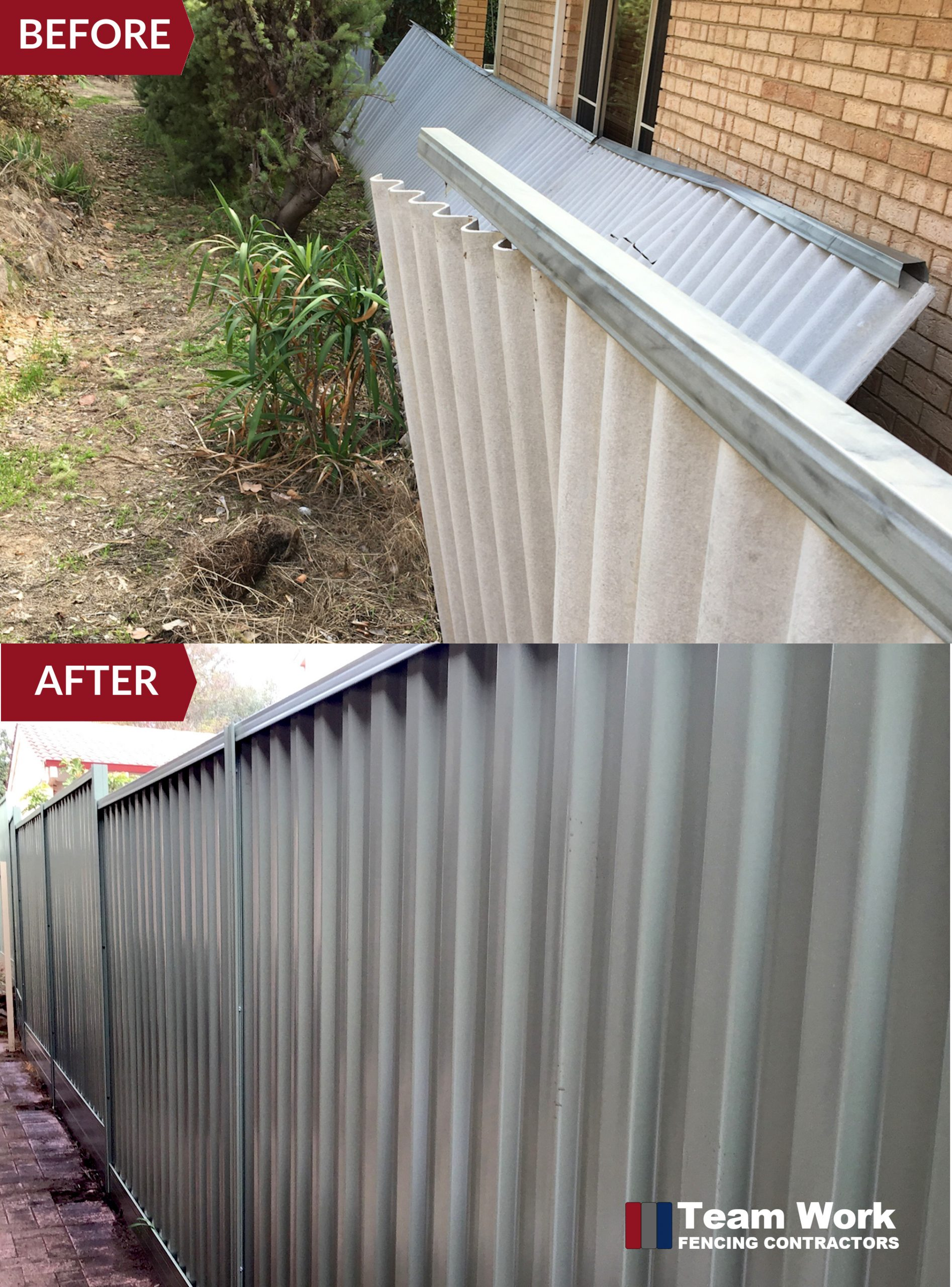 Before After Photo - Colorbond Fence Installation Nedlands WA