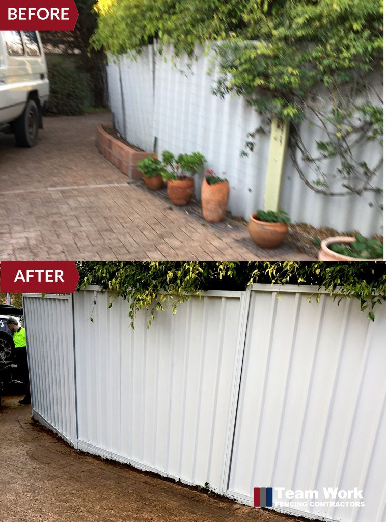 Before After Photo - Gray Colorbond Fencing Installation Scarborough WA