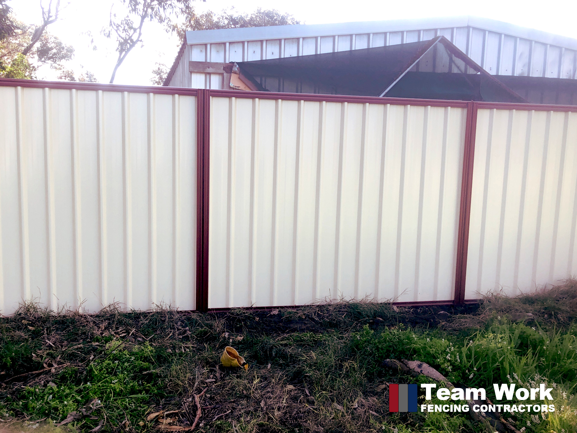 Two Color Colorbond Fence Enhancement by Team Work Fencing Contractors Bunbury WA