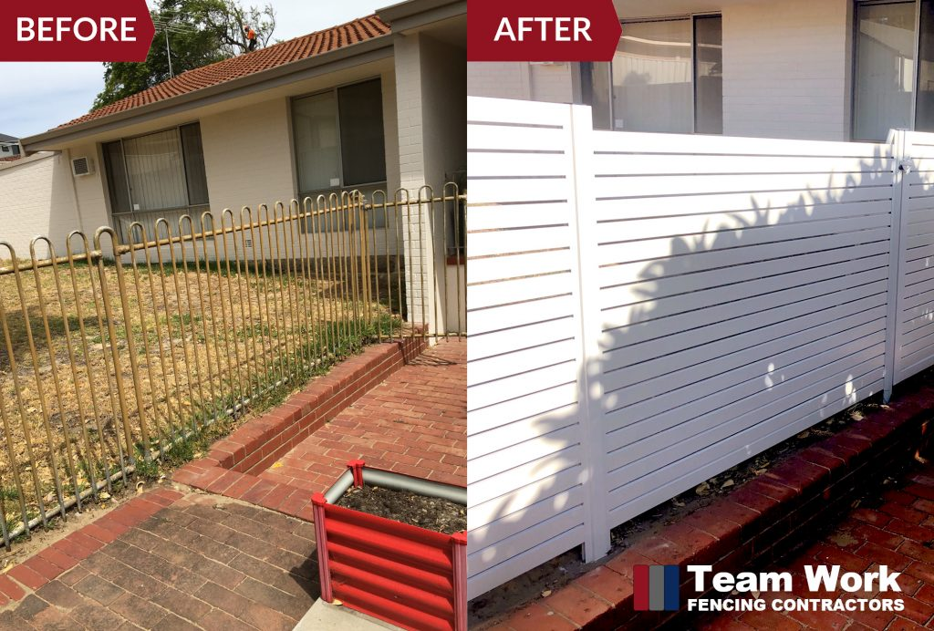 Before After Photo - White Horizontal Aluminium Fence Perth Installation