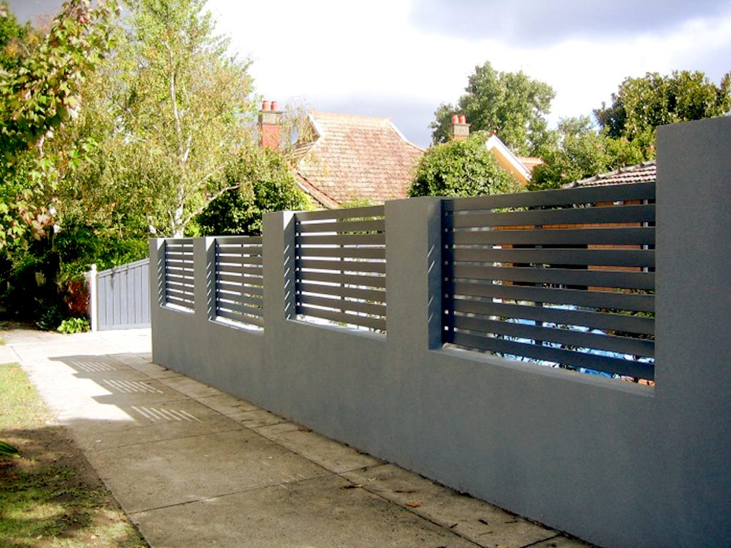 Gray Horizontal Slats Aluminium Fence Panels
