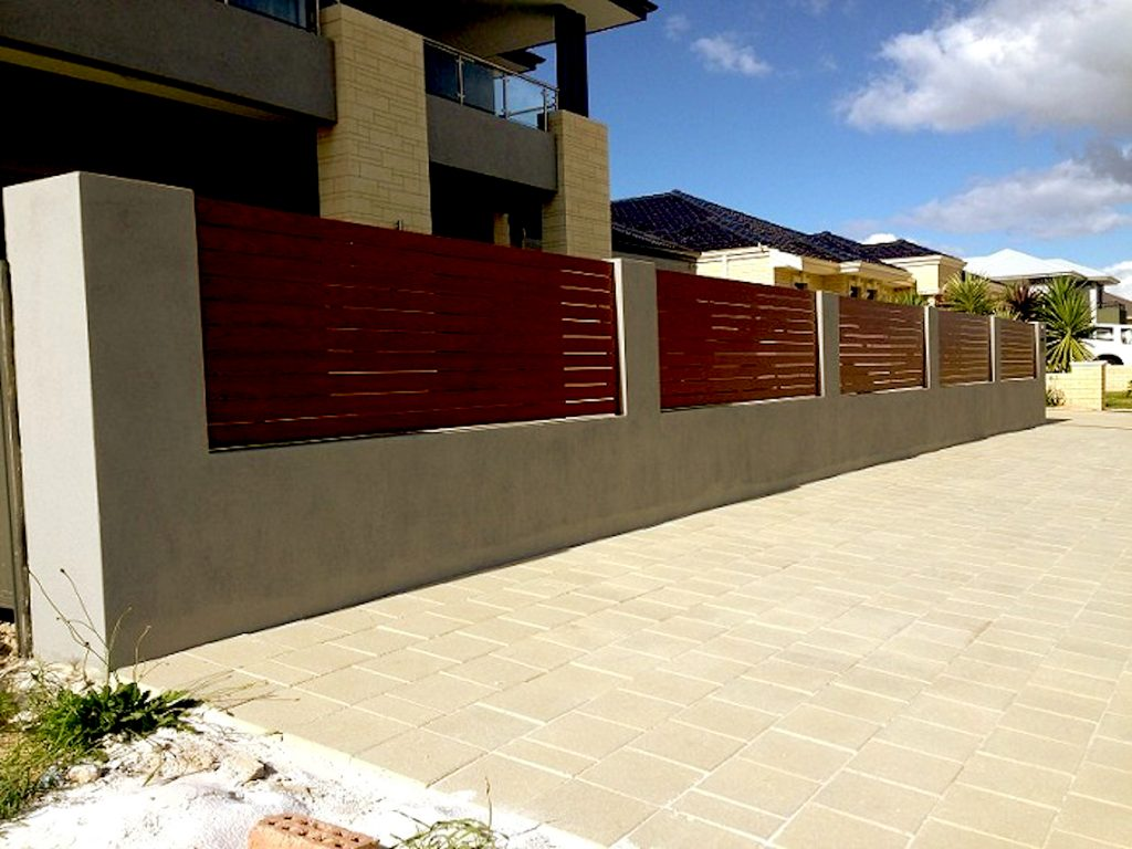 Red Horizontal Aluminium Slat Fencing and Gate