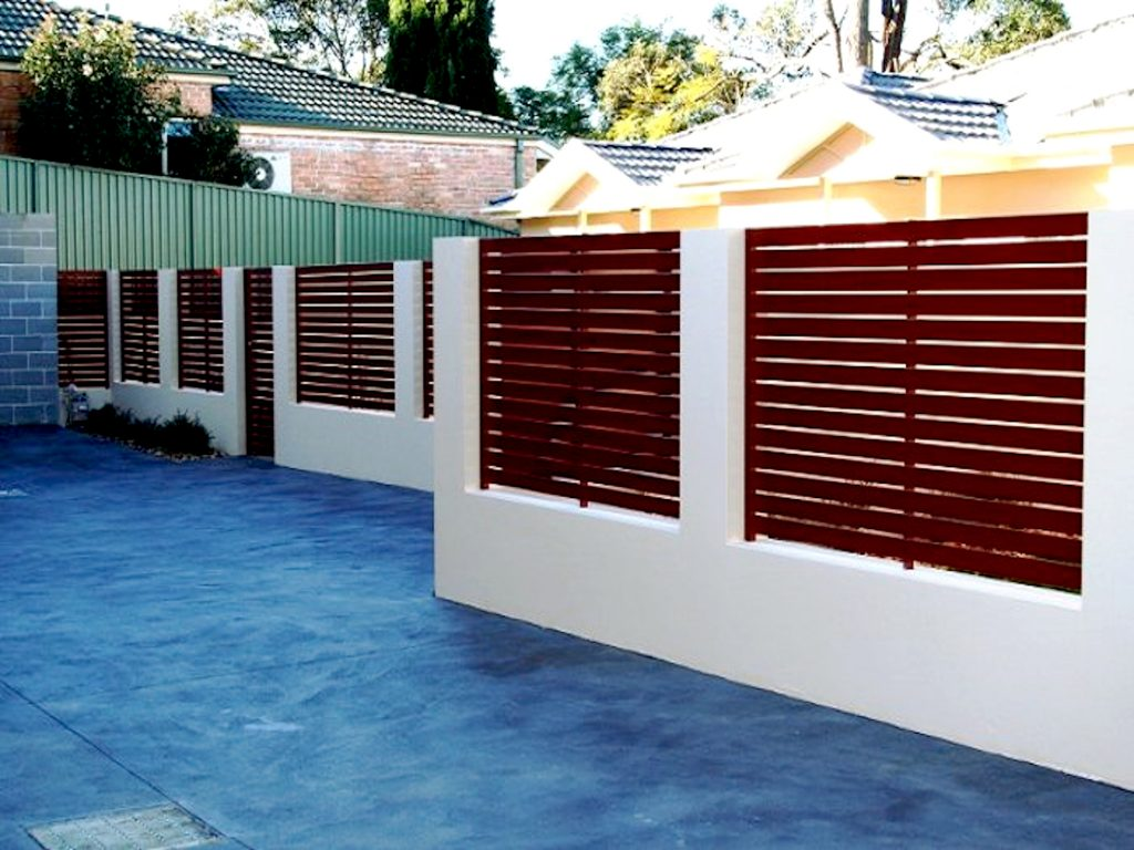 Red Horizontal EZI Aluminium Slat Fence Perth