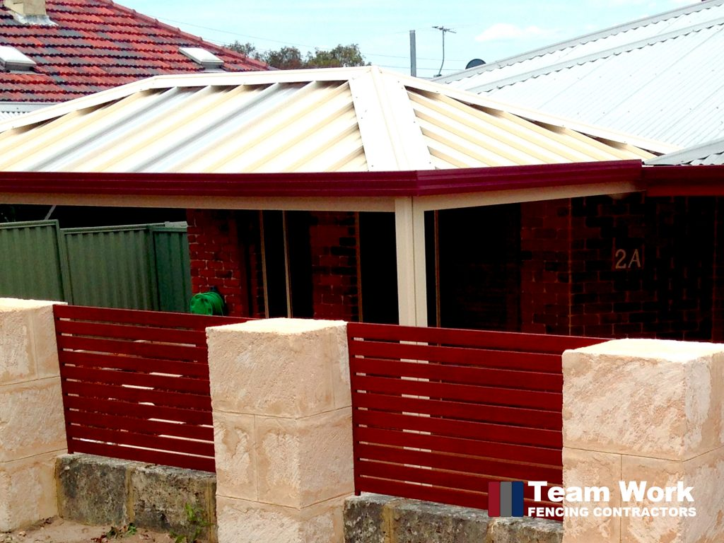Red Ezi Slat Fencing and Gates in Perth Western Australia