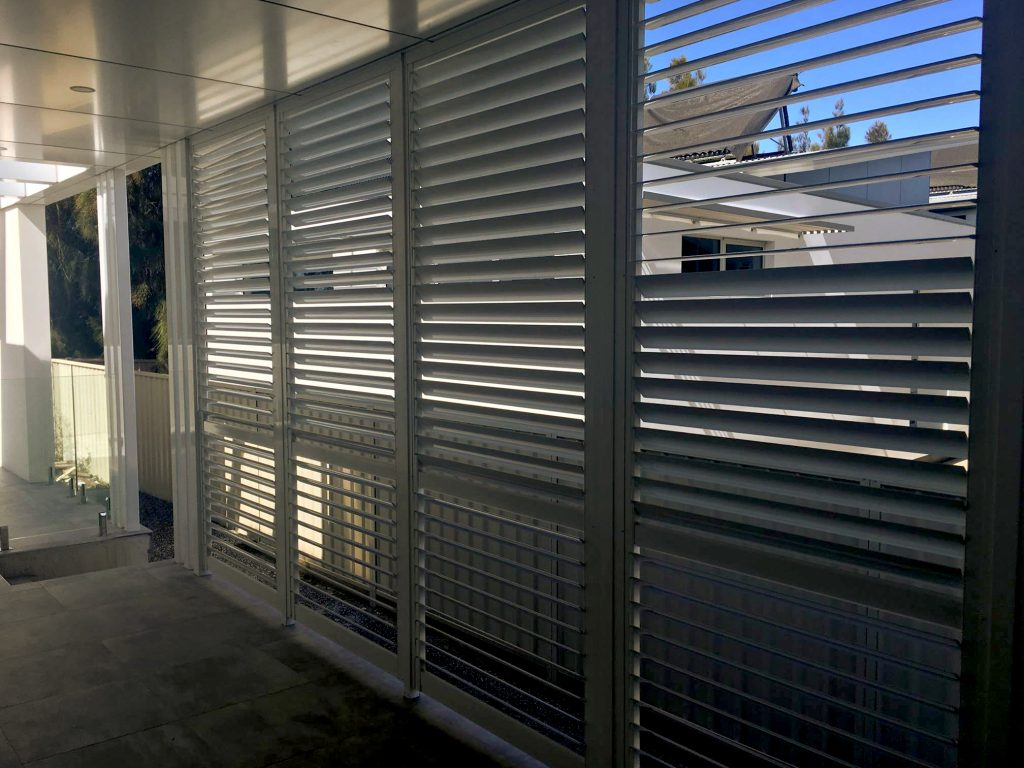 White Aluminium Privacy Slat Louvre Fencing - Inside