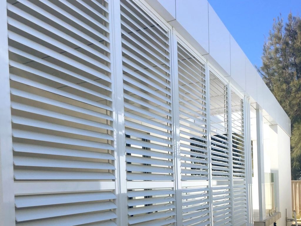 White Aluminium Privacy Slat Louver Perth