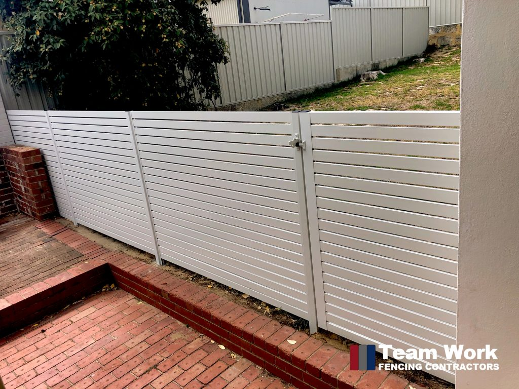 Aluminium Slat Fencing in White Colour - Perth Installation