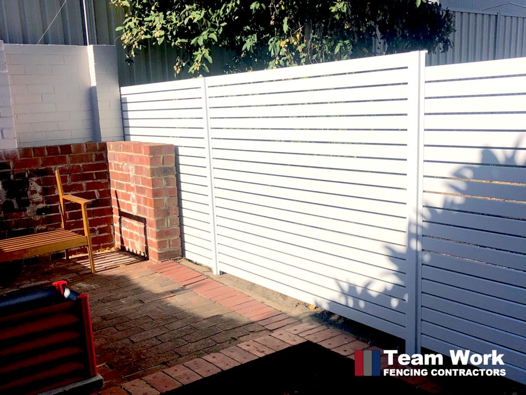 White Aluminium EZI Slat Fencing and Gate Perth