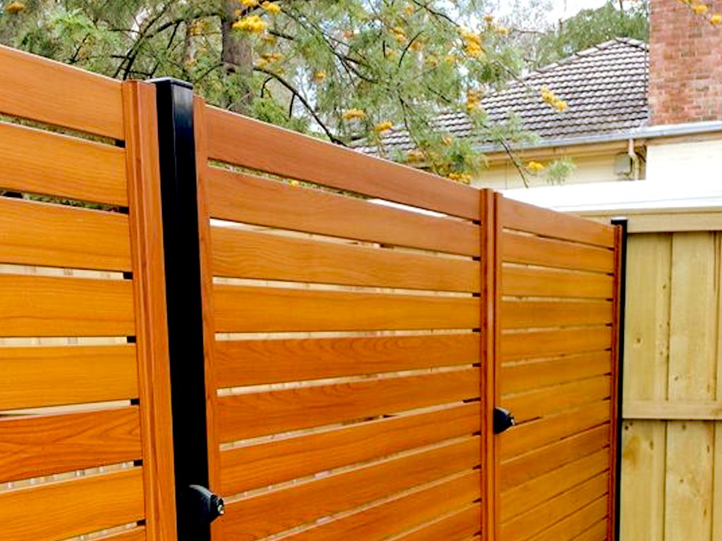 Aluminium Slat Fencing with Wood Grain Finish