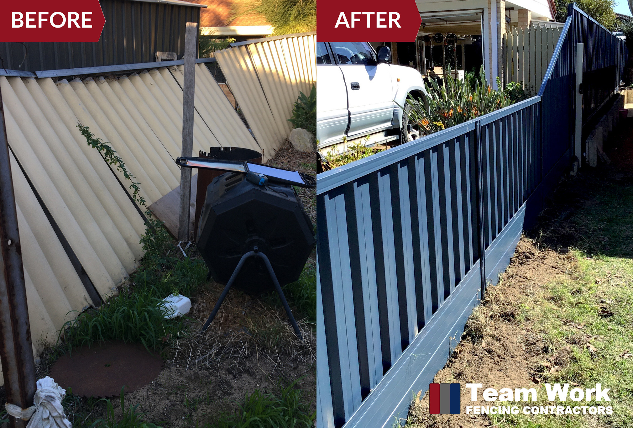 Ocean Blue Colorbond Fence Installation Before After Photo