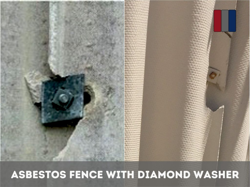 Diamond Shaped Metal Washers or Fasteners in Asbestos Fencing