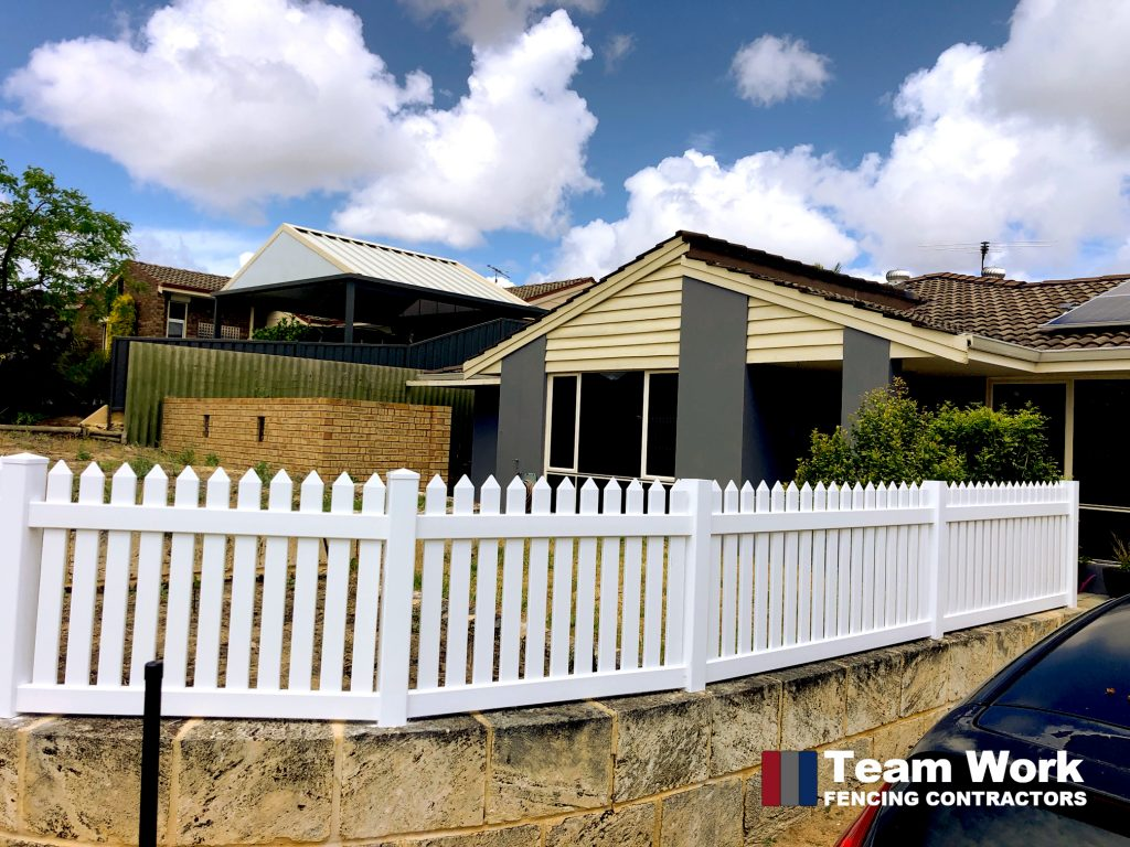 Side View of White PVC Picket Fence in Perth WA