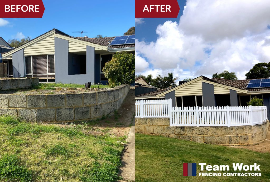 White PVC Fencing Installation - Before and After Photos
