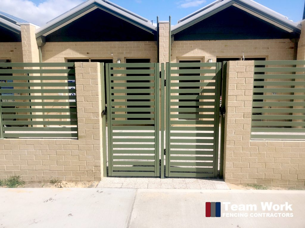 Green Aluminium Slat Fencing and Gates Perth