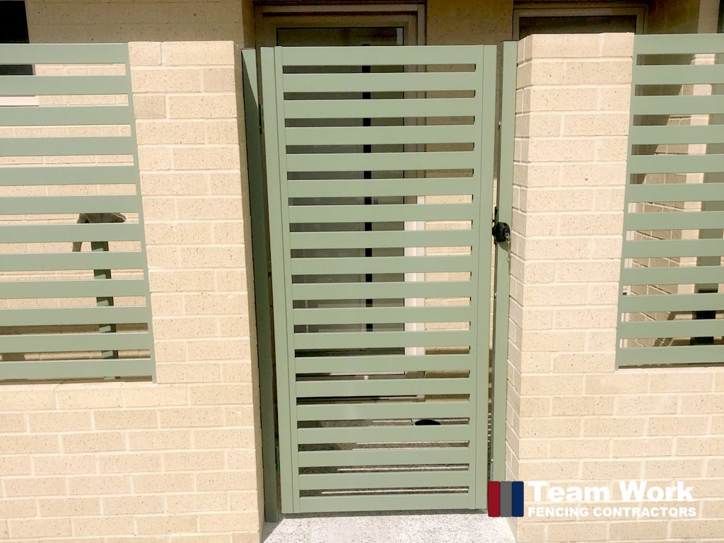 Green Aluminium Vertical Slat Gate Perth