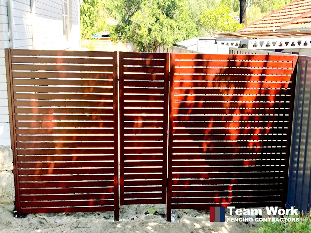 Jarrah Aluminium Slat Fence and Gate Perth WA
