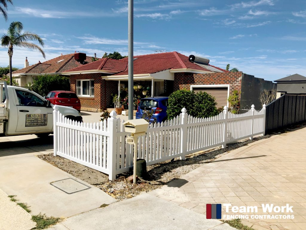 White PVC Curved Top Picket Fence Perth