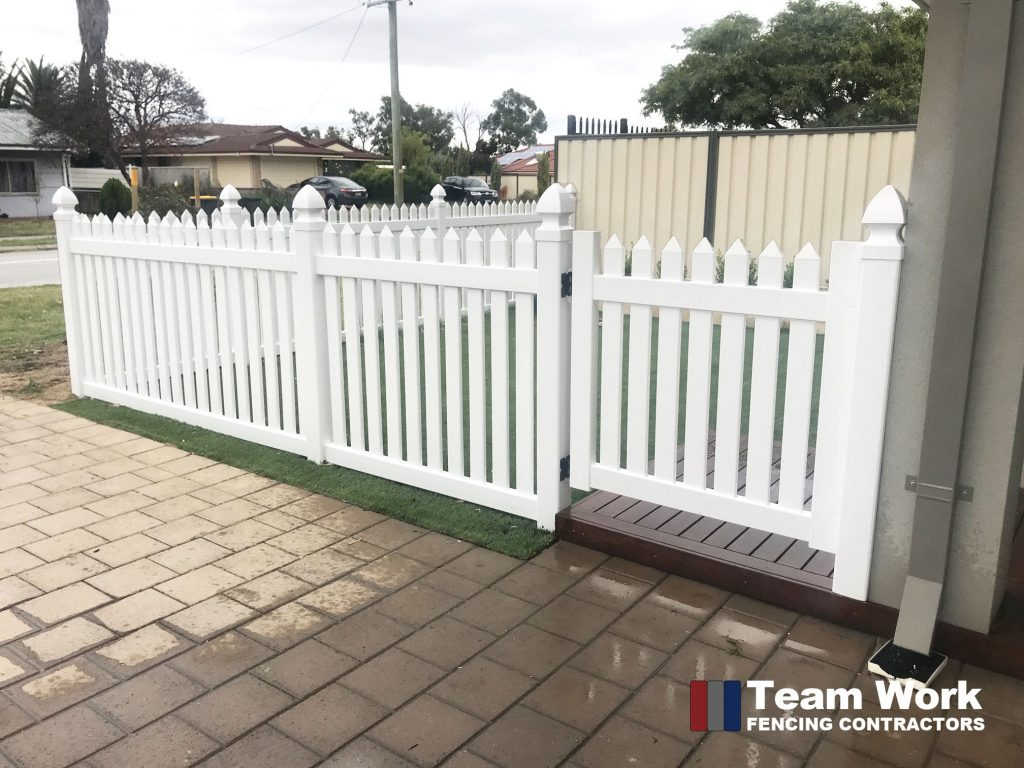 PVC Fence and Gate New English Flat Pickets Installation in WA