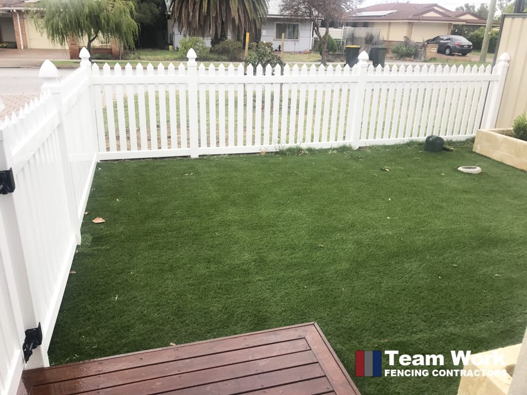 White New English PVC Fencing by Team Work Fencing Perth