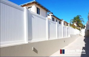 White PVC Privacy Fence and Gate Installation Perth