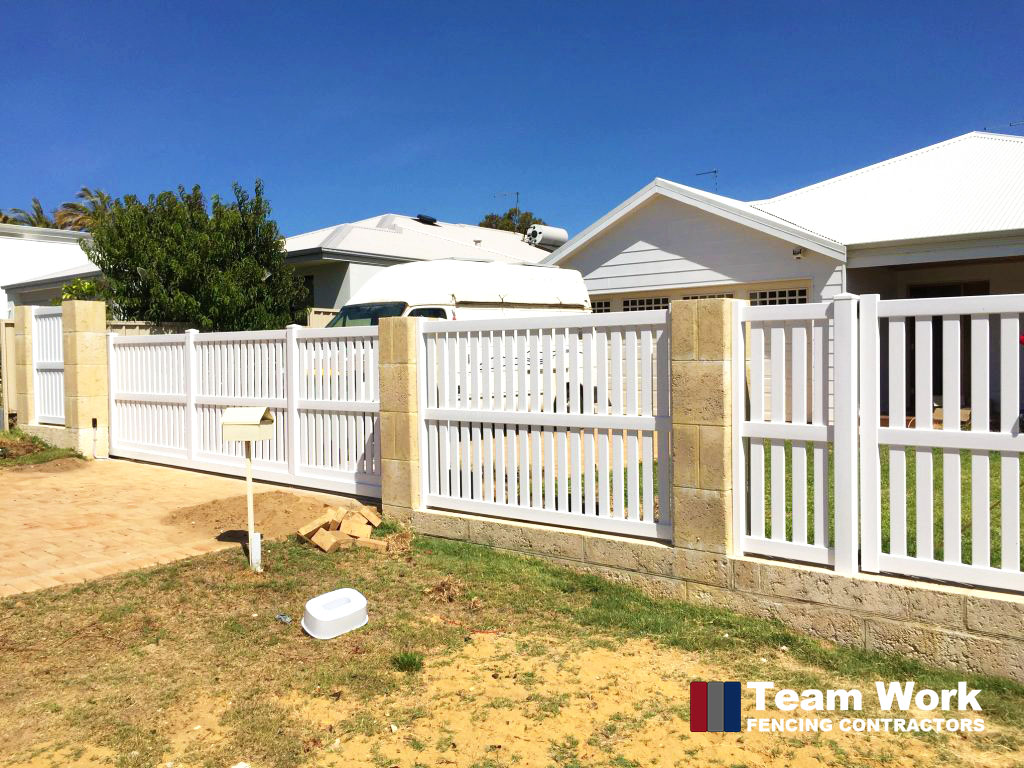 White Modern PVC Fence and Gate Installation Perth