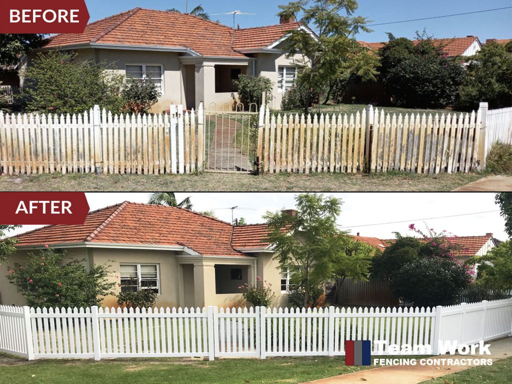 Before and After Installation of White PVC Picket Fence Perth