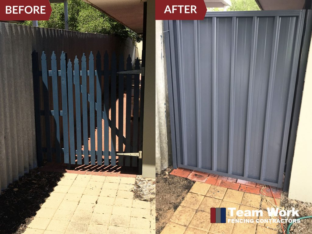 Before and After Photo of Single Colourbond Fence Gate Installation Perth