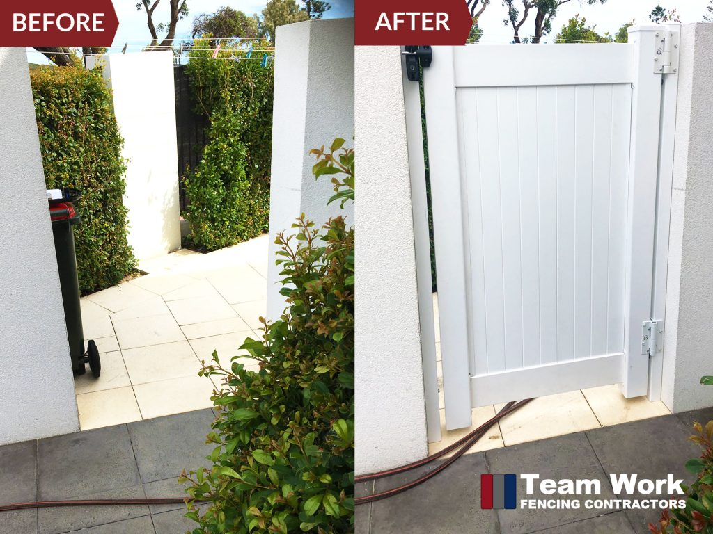 Before and After Photo of PVC Fence Gate Installation in Perth