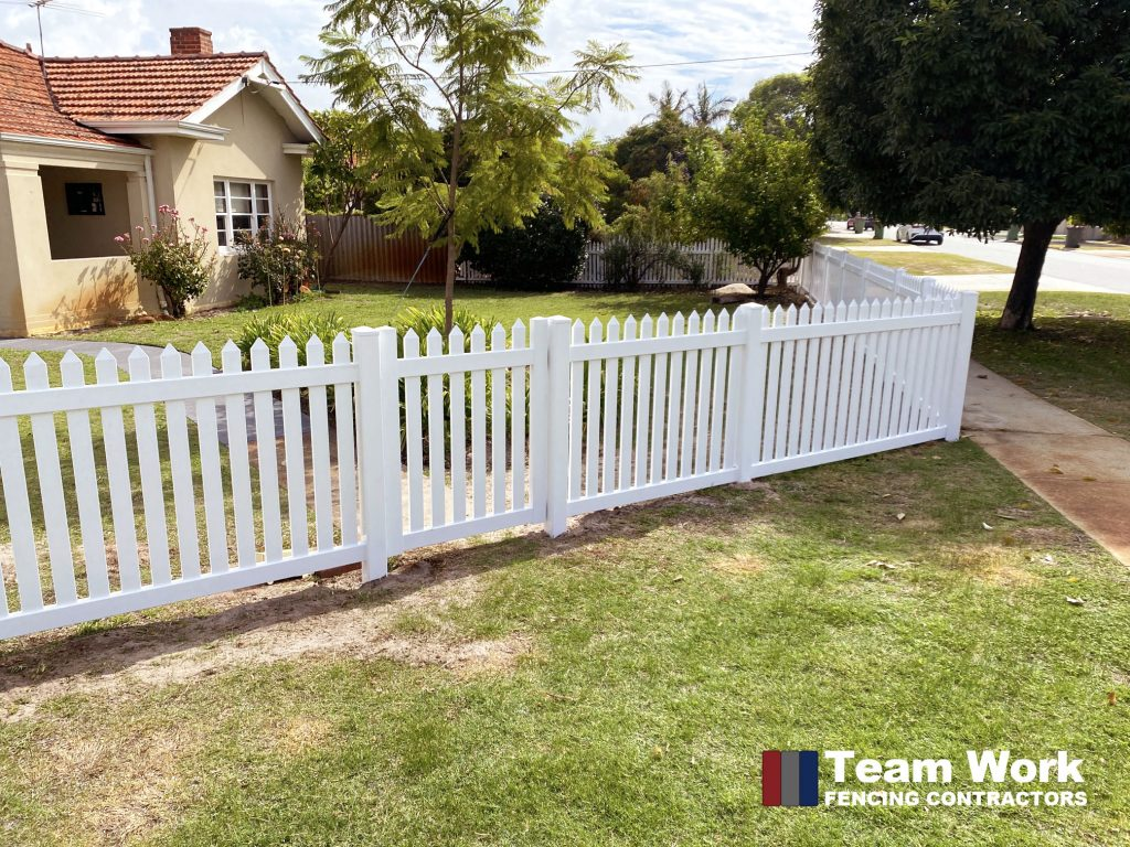 White PVC Picket Fencing and Gate Installion Perth