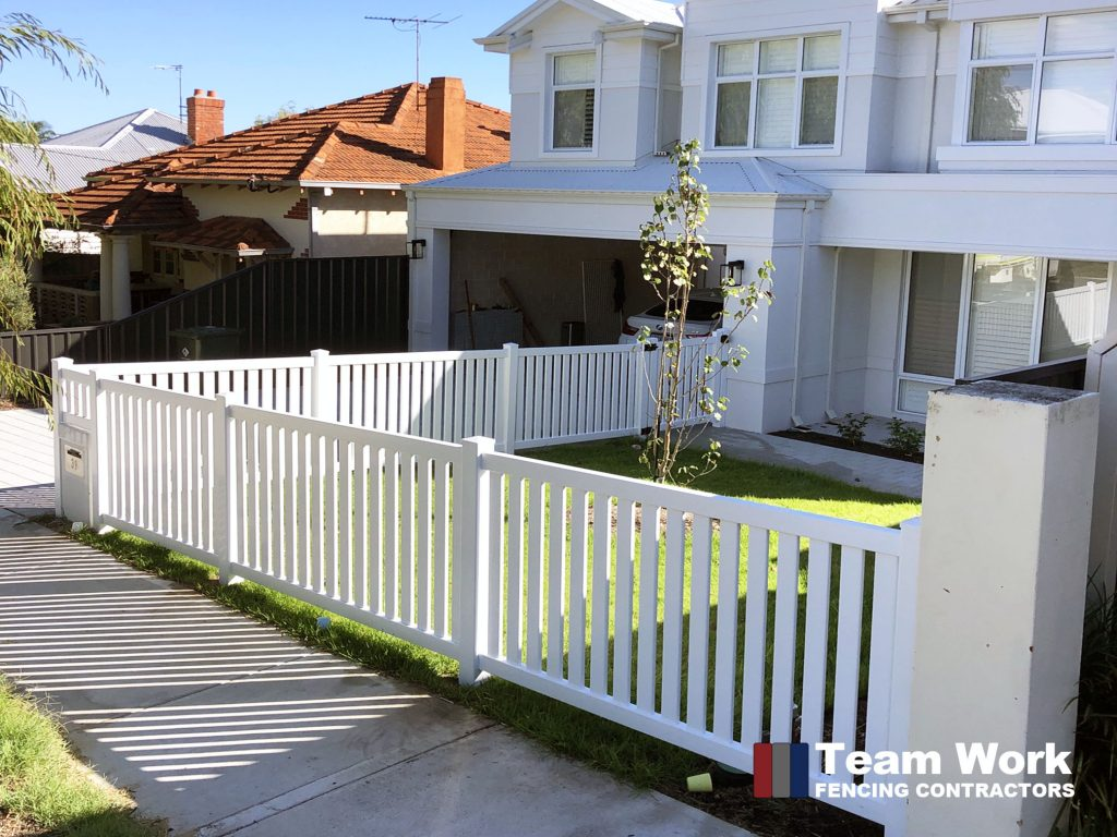 White Modern PVC Fencing Straight Pickets Installation