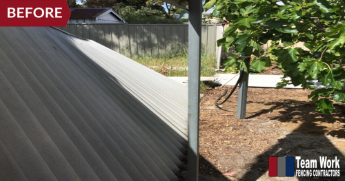 Before Photo 2: Storm-damaged HardieFence replaced with Colorbond Fencing in North Perth, WA