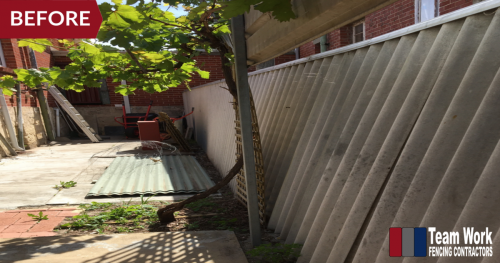 Before Photo 1: Storm-damaged HardieFence replaced with Colorbond Fencing in North Perth, WA