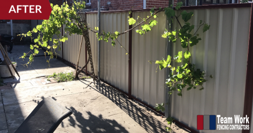 After Photo 2: Storm-damaged HardieFence replaced with Colorbond Fence in North Perth, WA
