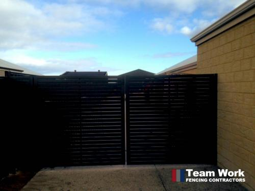 Black EZI slat fence and gate front view Perth WA