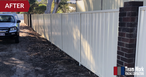 Storm Damaged Fence in Gosnells WA - After Repair - Replaced with White Colorbond Fence