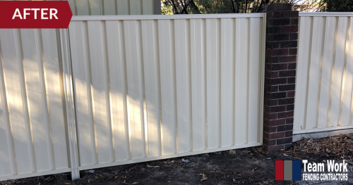 Storm Damaged Fence After Repair - Replaced with Colorbond Fencing