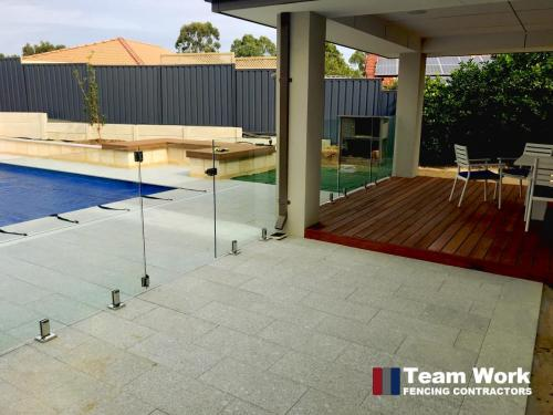 Custom Glass Pool Fence Installation in Perth - Showing Deck