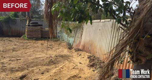 Storm Damaged Fence Replaced with Colorbond Fencing - Before Photo